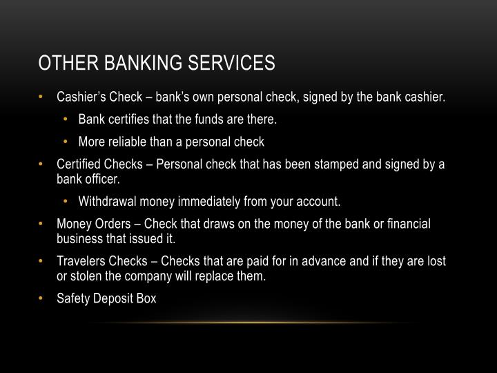 Other banking services
