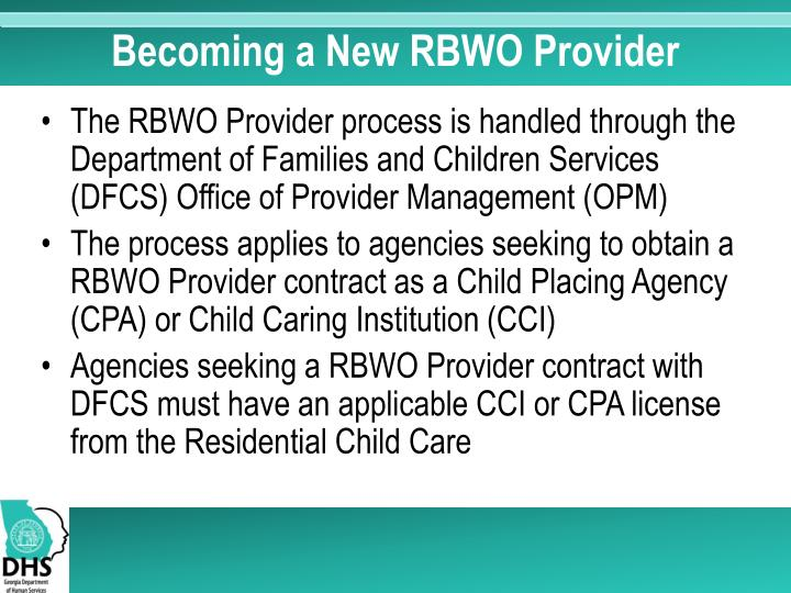 Becoming a New RBWO Provider