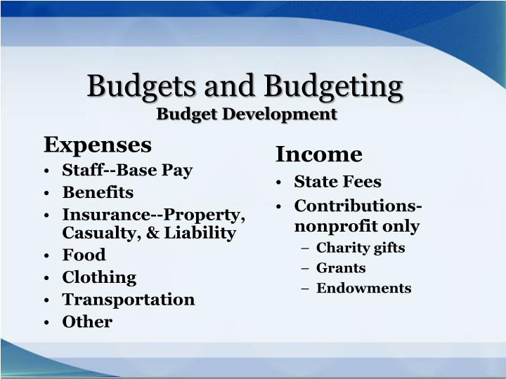 Budgets and Budgeting