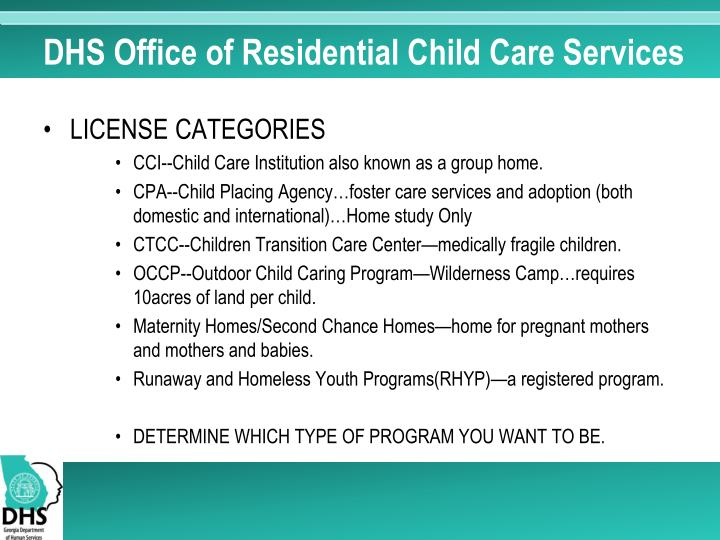 DHS Office of Residential Child Care Services