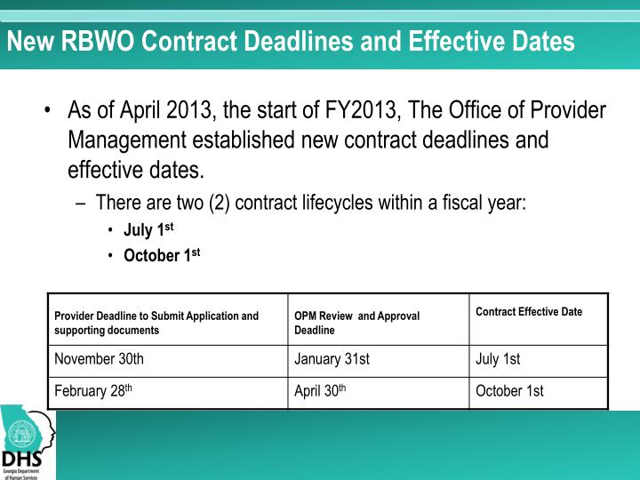 New RBWO Contract Deadlines and Effective Dates