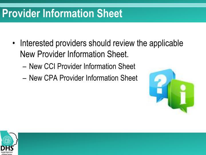 Provider Information Sheet