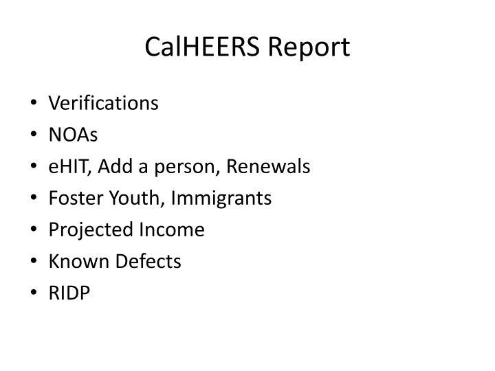 CalHEERS Report