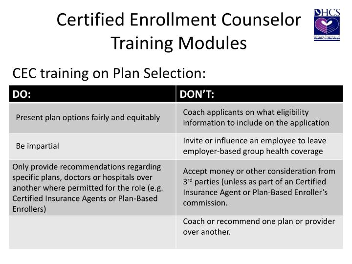 Certified Enrollment Counselor Training Modules