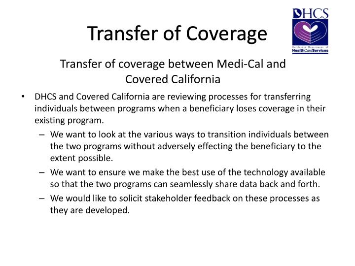 Transfer of coverage