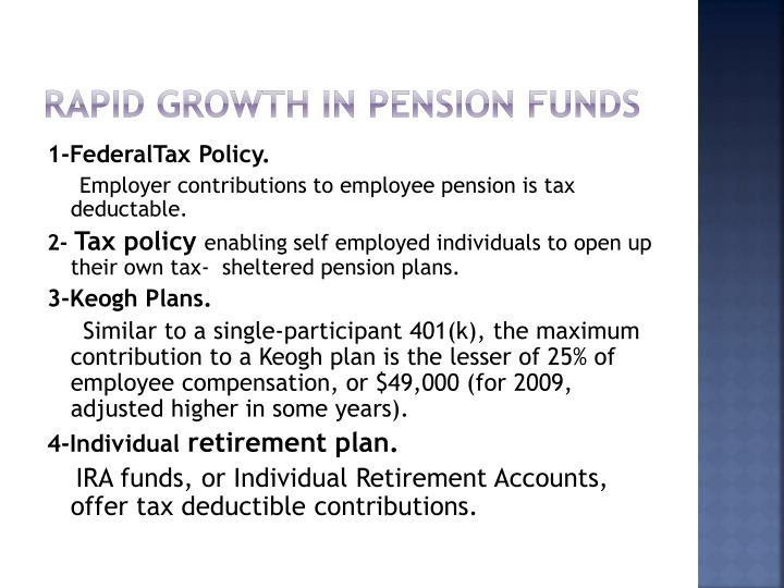 Rapid growth in pension Funds