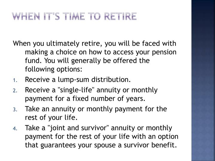 When It's Time to Retire