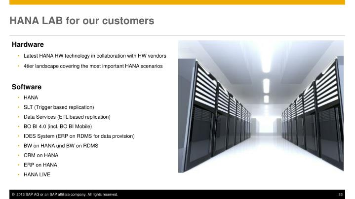 HANA LAB for our customers