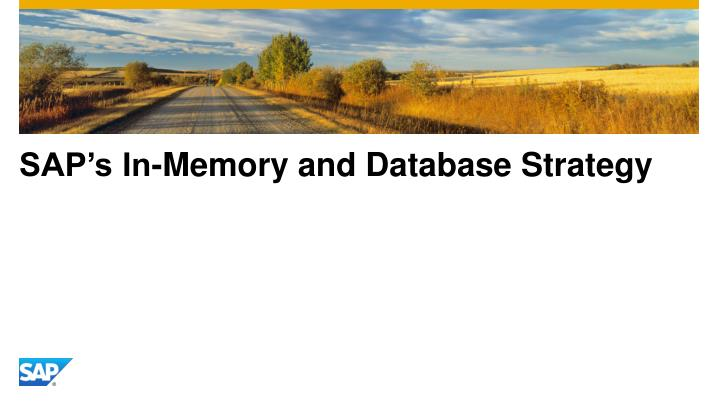 SAP's In-Memory and Database Strategy