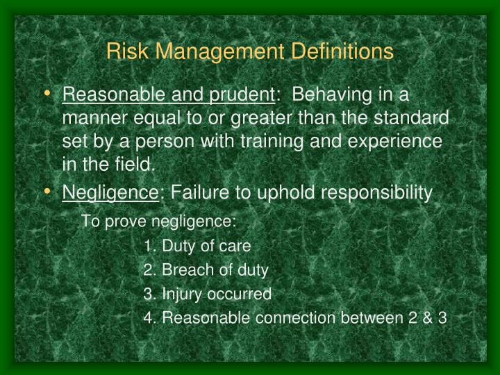 Risk Management Definitions