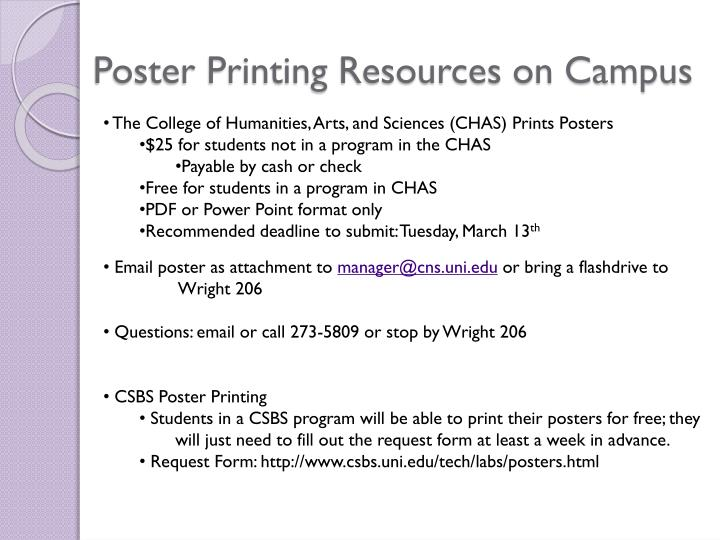Poster Printing Resources on Campus