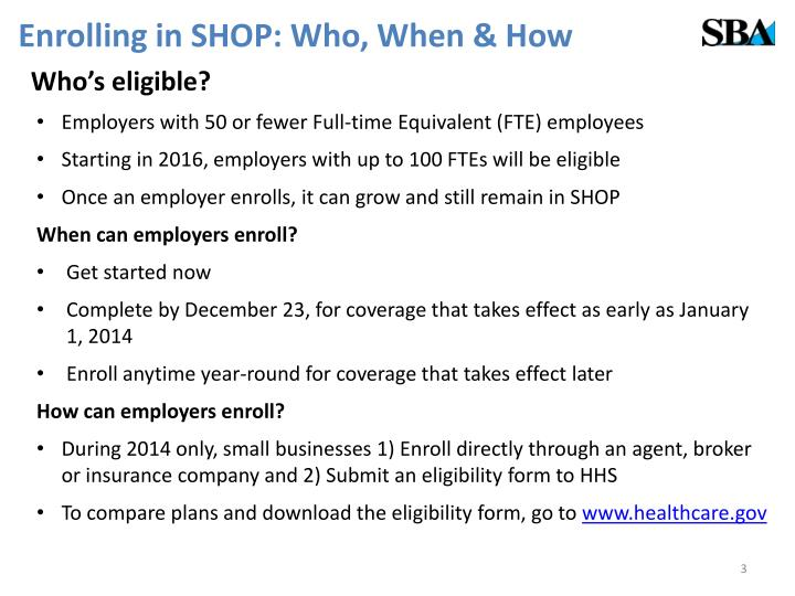 Enrolling in SHOP: Who, When & How