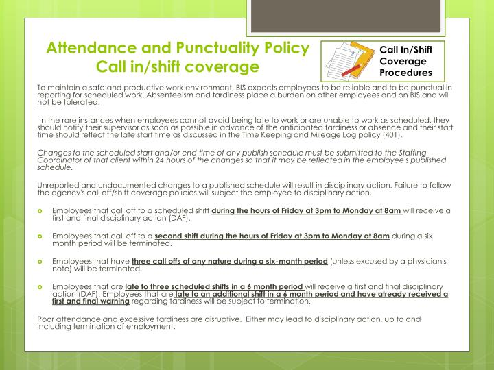 Call In/Shift Coverage Procedures