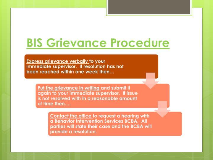 BIS Grievance Procedure