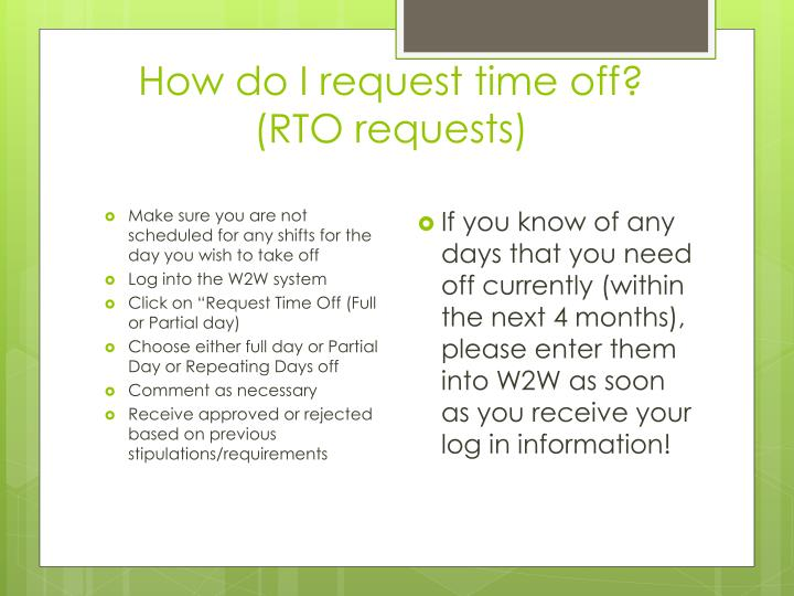 How do I request time off?  (RTO requests)