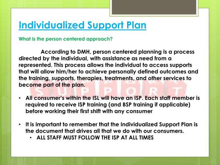 Individualized Support Plan