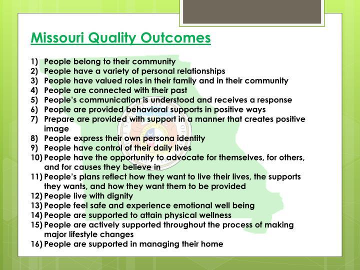 Missouri Quality Outcomes