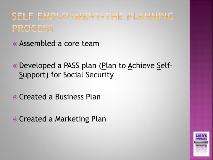 Self employment-the planning process