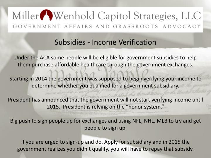 Subsidies - Income Verification
