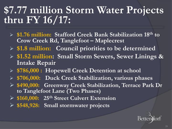 $7.77 million Storm Water Projects thru FY 16/17: