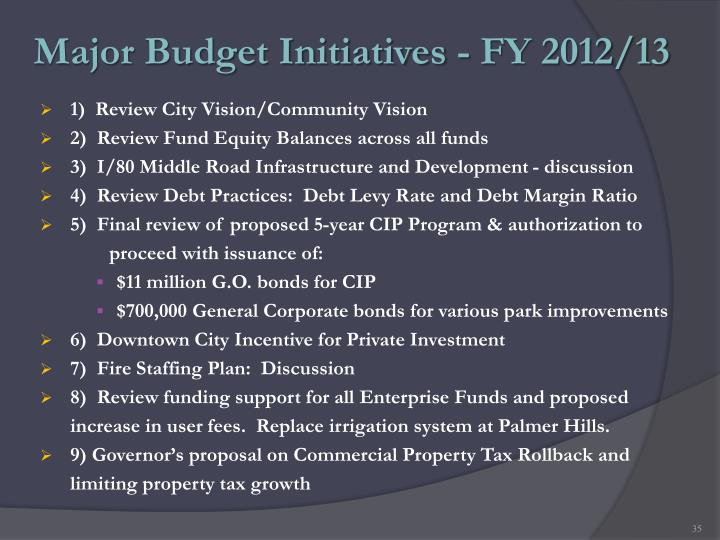 Major Budget Initiatives - FY 2012/13