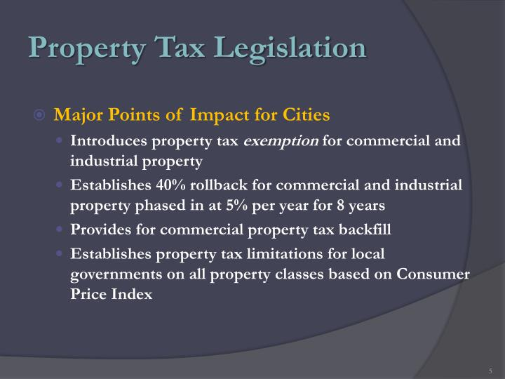 Property Tax Legislation