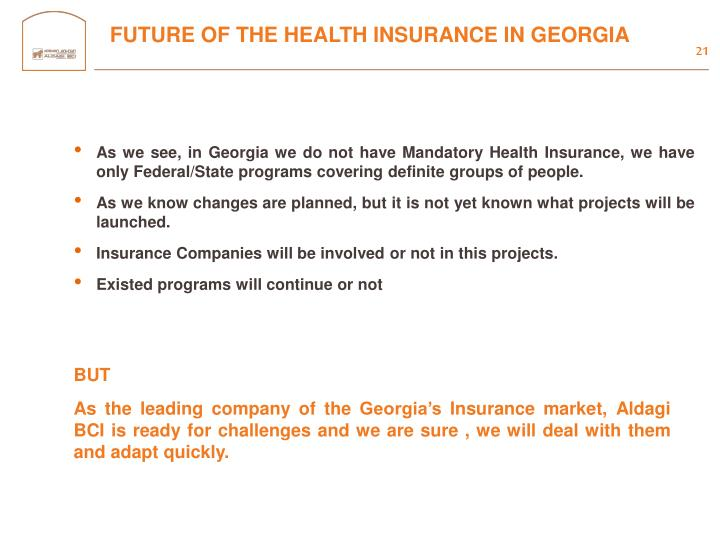 FUTURE OF THE HEALTH INSURANCE IN GEORGIA
