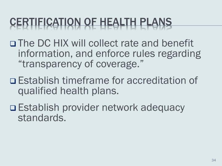 "The DC HIX will collect rate and benefit information, and enforce rules regarding ""transparency of coverage."""