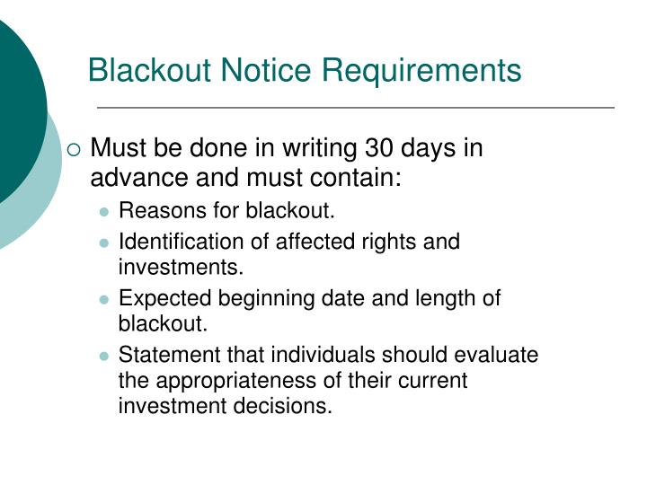 Blackout Notice Requirements