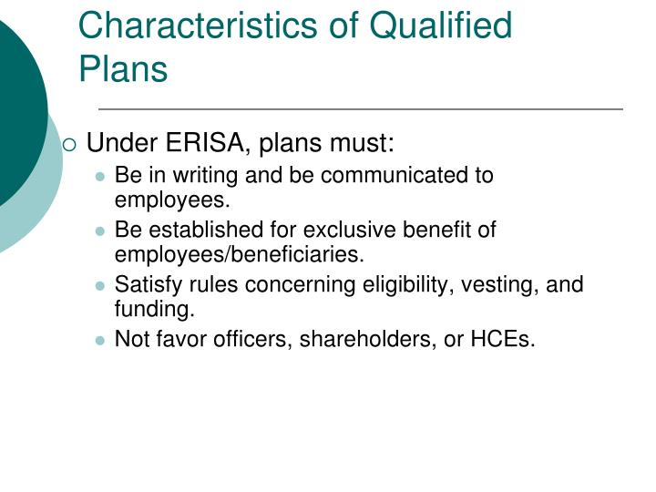 Characteristics of Qualified Plans