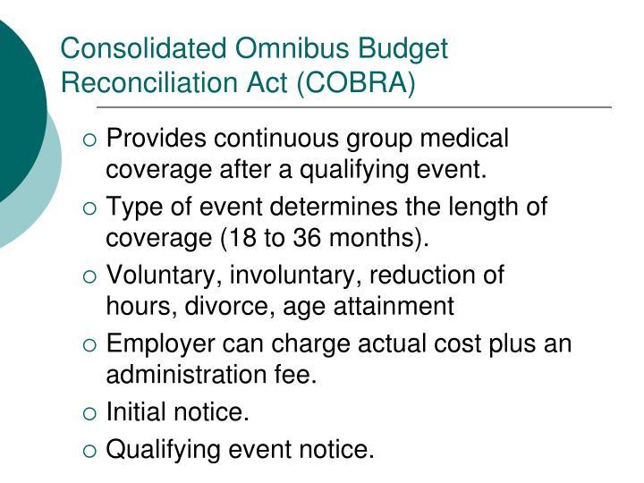 Consolidated Omnibus Budget Reconciliation Act (COBRA)