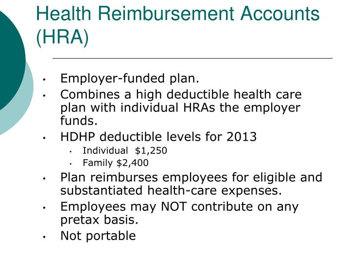 Health Reimbursement Accounts (HRA)