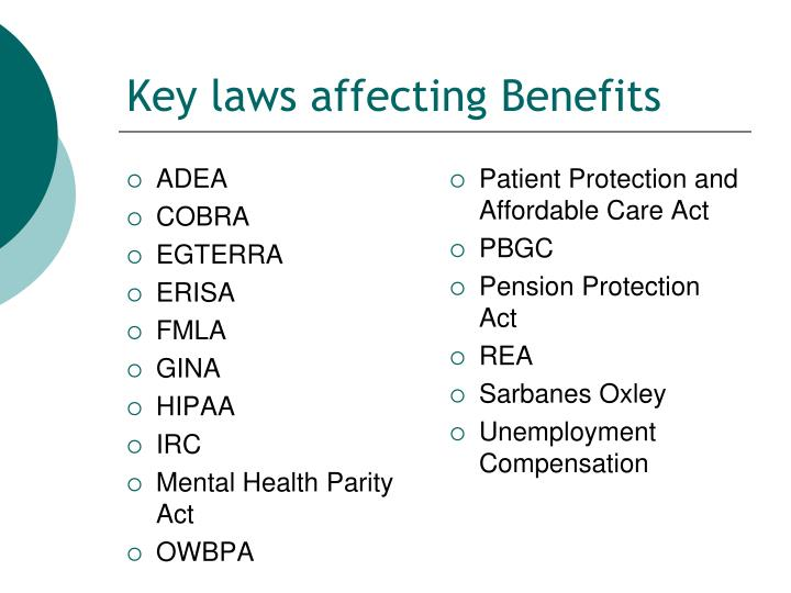 Key laws affecting Benefits