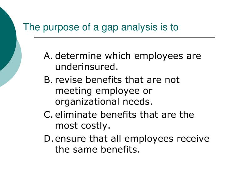 The purpose of a gap analysis is to