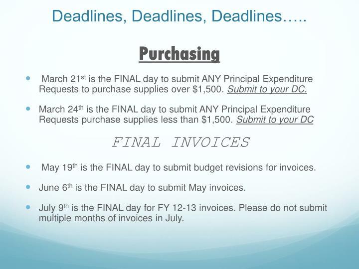 Deadlines, Deadlines, Deadlines…..