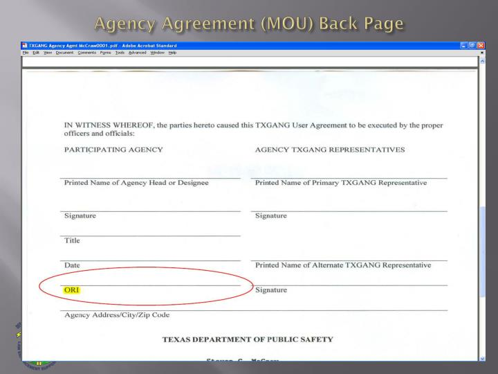 Agency Agreement (MOU) Back Page