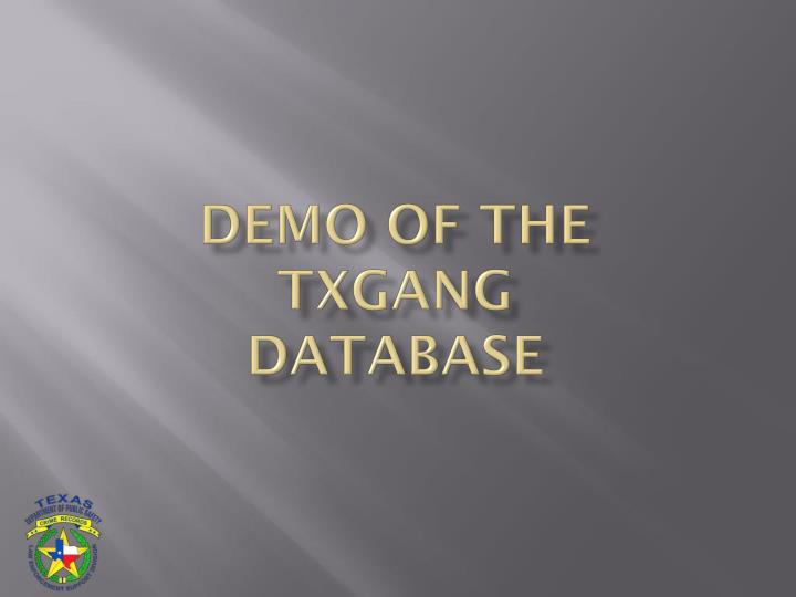 DEMO OF THE TXGANG