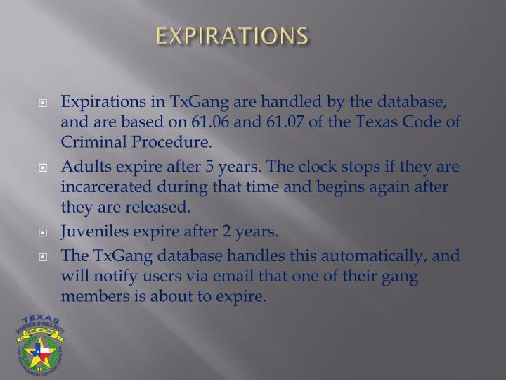 EXPIRATIONS