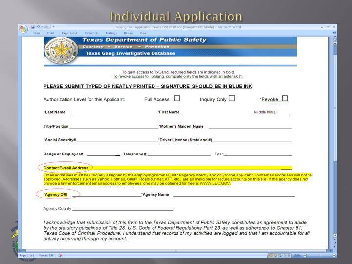 Individual Application