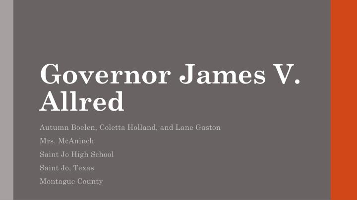 Governor james v allred