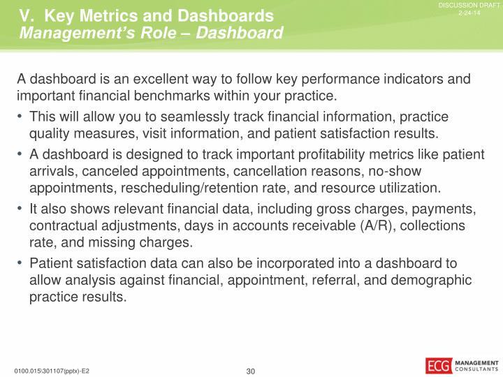 V.  Key Metrics and
