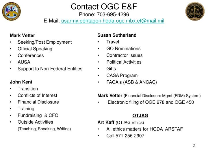Contact OGC E&F