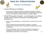 hatch act political activities pictures in the workplace