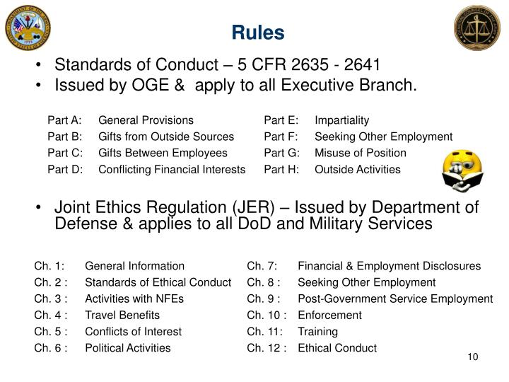 Standards of Conduct – 5 CFR 2635 - 2641