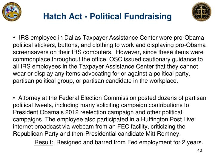 Hatch Act - Political Fundraising