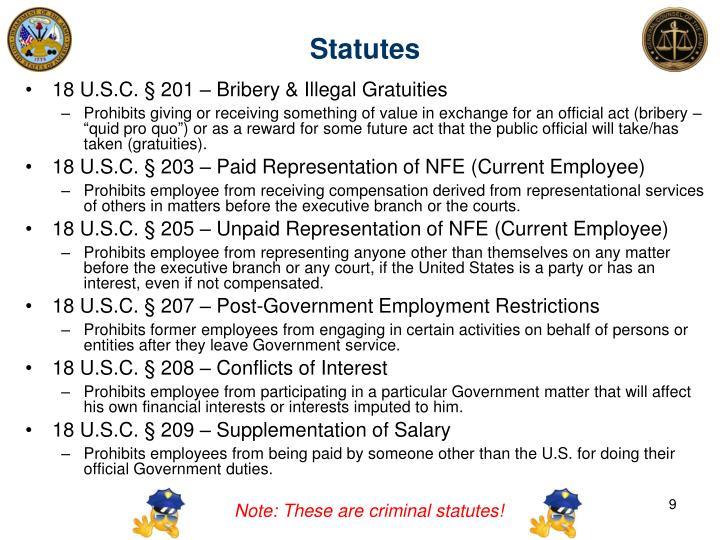 18 U.S.C. § 201 – Bribery & Illegal Gratuities