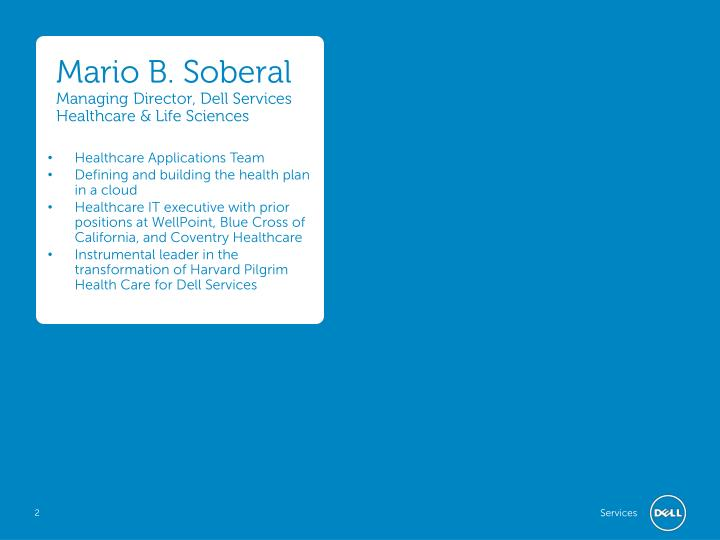 Mario b soberal managing director dell services healthcare life sciences