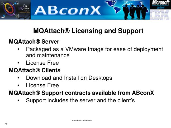 MQAttach® Licensing and Support
