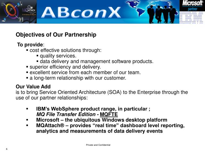 Objectives of Our Partnership