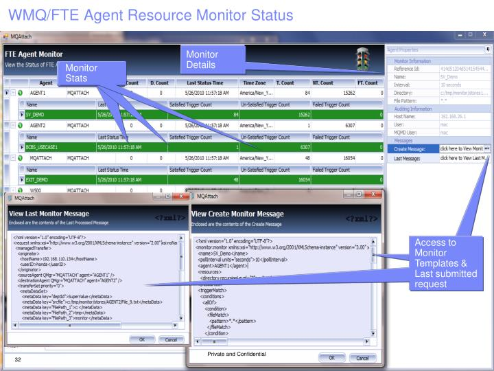 WMQ/FTE Agent Resource Monitor Status